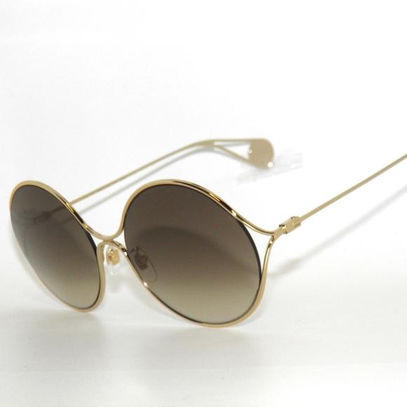 Gucci 0253S 002 Gold Brown Round Sunglasses 2a5928dfe7